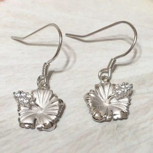 Sterling Silver Hibiscus Dangle Earring
